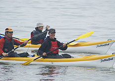 Clients explore the Walvis Bay lagoon by sea-kayak